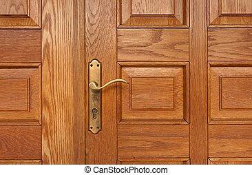 Door knob of a building closeup