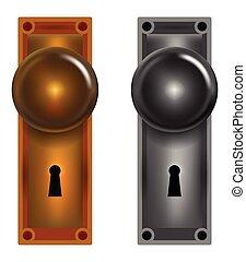 Black silhouettes of door knobs vector illustration clipart vector