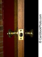 Door Knobs on Door - Entry door showing sideview of both...