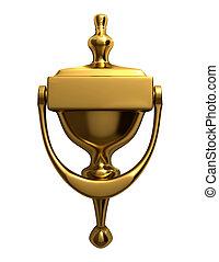 Door knocker - A golden door knocker isolated on white - 3d...