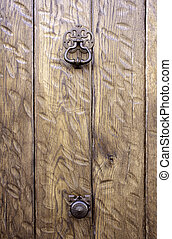 Door Latch - Door knob latch with embossed wood village