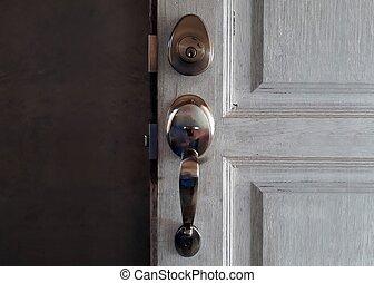 Door lock and handle in close up