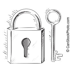 door lock and key black and white. Door Lock And Key Sketch Cartoon Illustration Black White