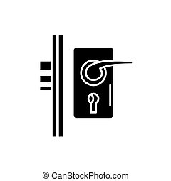 Door lock black icon, vector sign on isolated background. Door lock concept symbol, illustration