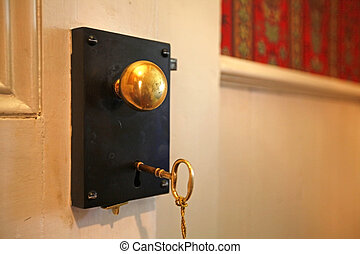 Door lock from 1856 with gold key