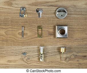 Door Lock parts for Residental Home - Overhead view of...