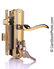 Door lock with keys on a white background