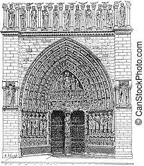 Door, Middle of the front Of Notre-Dame de Paris or Notre Dame Cathedral, vintage engraving.