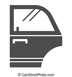 Door of automobile solid icon. Car detail vector illustration isolated on white. Car part glyph style design, designed for web and app. Eps 10.