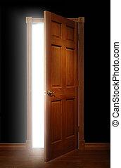 Door of Opportunity - Door opening with bright light ...