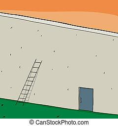 Door of Opportunity - Short ladder and closed door in blank ...