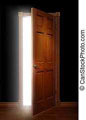 Door of Opportunity - Door opening with bright light...