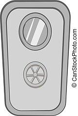 Door of safe icon, black monochrome style