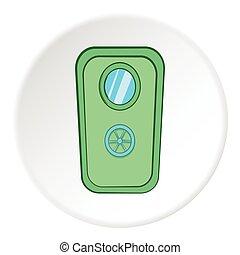 Door of safe icon, cartoon style