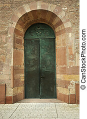 Door of Speyer cathedral for travelers people visit at...