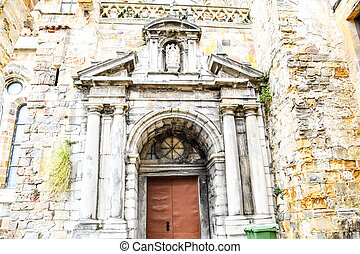 door of the church, photo as a background