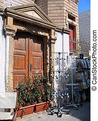 Door of traditional greek house