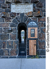 Door of Tunnel Through Entrance Gate to Yellowstone