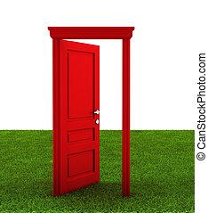 Door on a grass