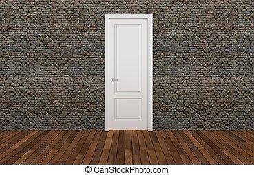 door on old brick wall ,3d