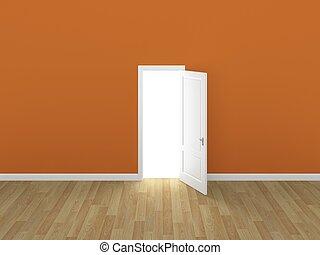 door open on orange wall ,3d