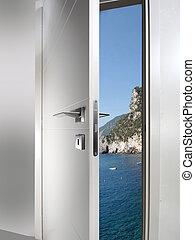 door open to the coast