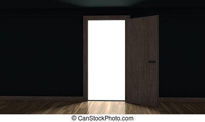 Door opening in a dark room with bright light