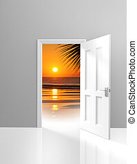 Door opening to beautiful paradise