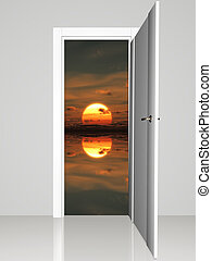 Door opening to beautiful sunset