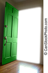 Door opening to bright white space
