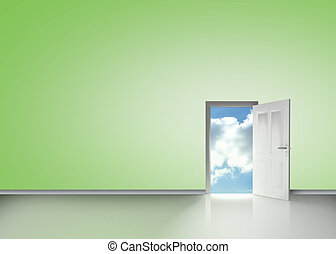 Door opening to reveal blue cloudy sky
