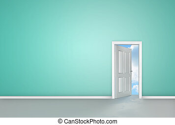 Door opening to reveal blue sky