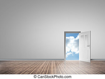 Door opening to reveal sunny blue sky in a grey room with...