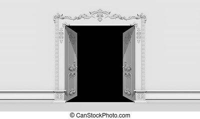 Door Opening to Room Alpha Channel