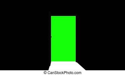 Door opening with green screen