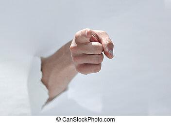 door, papier, verbreking, wijzende hand, u