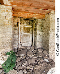 Door partially covered with mold in an old house in the mountains