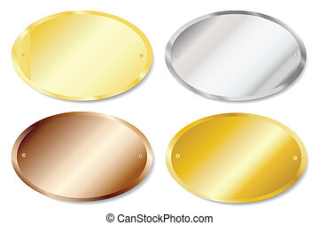 Door plaques oval - Vector illustration of metal door...