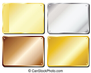 Door plaques - Vector illustration of metal door plaques in...