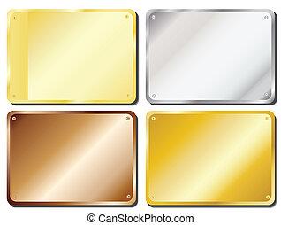 Door plaques - Vector illustration of metal door plaques in...