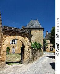 Door, Saint Genies, Street, House, Village