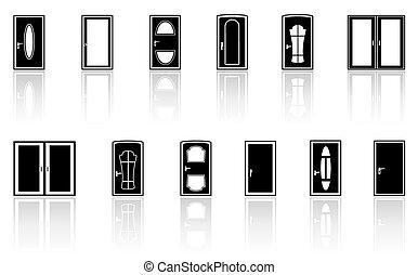 door set with mirror
