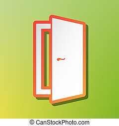 Door sign illustration. Contrast icon with reddish stroke on green backgound.