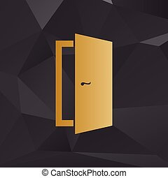 Door sign illustration. Golden style on background with polygons.