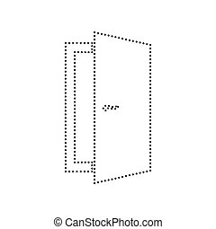 Door sign illustration. Vector. Black dotted icon on white background. Isolated.