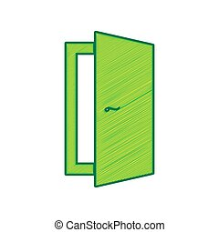 Door sign illustration. Vector. Lemon scribble icon on white background. Isolated