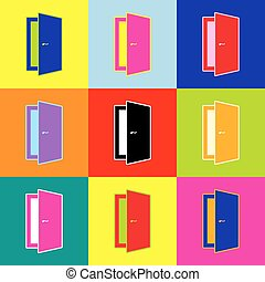Door sign illustration. Vector. Pop-art style colorful icons set with 3 colors.