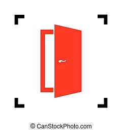 Door sign illustration. Vector. Red icon inside black focus corners on white background. Isolated.