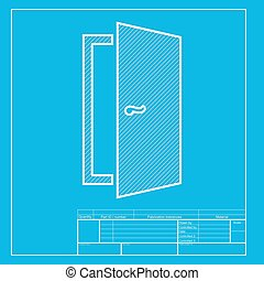 Door sign illustration. White section of icon on blueprint template.
