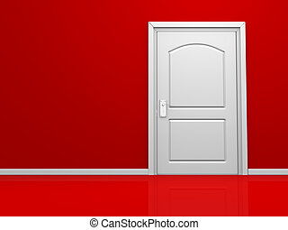 Door - 3d door in the red wall. 3d render